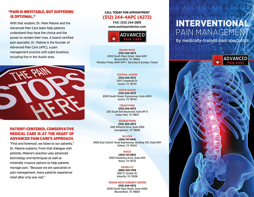 Pain management brochure front