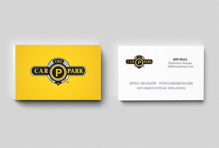Car park logo boise website design car park business cards colourmoves